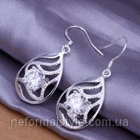 Ювелирная бижутерия Tiffany серьги - подвески «капля с большим кристаллом» (покрытие серебро 925).|escape:'html'