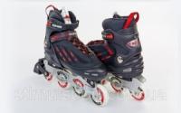 Роликовые коньки раздвижные KEPAI F1-S9-R(XL) (42-44) (PL, PVC,колесо PU, алюм. рама,черный-красный)|escape:'html'