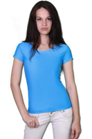 Футболка хлопковая женская 5A - голубая