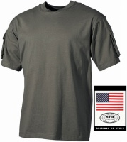 Тактическая футболка спецназа США, тёмно-зелёная, с карманами на рукавах, х/б MFH 00121B  M escape:'html'