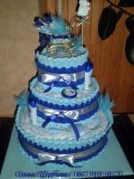 Торт из подгузников « Сине -голубой с коляской»|escape:'html'