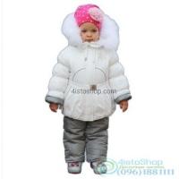 Куртка белая и полукомбинезон на девочку рост от 92 до 110 см