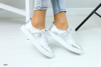 Кеды кожаные серебряные на белой подошве на шнурках