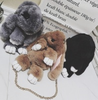 3d рюкзак из натурального меха Кролик Черный