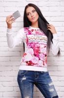 Кофта«Sweatshirt» KF-1287d цветы COUTURE, белый|escape:'html'