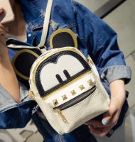 Рюкзак женский мини сумка Mickey Mouse кожзам с ушками бежевый