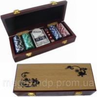 Покерный набор на 100 фишек в деревянном сундучке Код:3913582 escape:'html'