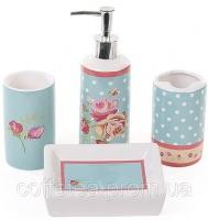Набор для ванной «Розы» дозатор, подставка для щеток, стакан, мыльница