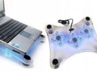 Подставка под ноутбук 3 кулера прозрачная с голубой подсветкой от USB