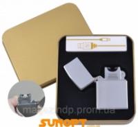 Электроимпульсная зажигалка в подарочной упаковке Серебро (Под гравировку, USB) №XT-4888 Код:627505940