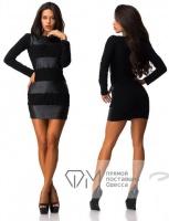 Платье со вставками из эко-кожи,склад№10|escape:'html'