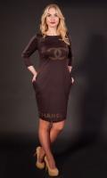 Женское трикотажное платье Шанель коричневое, р.44-56|escape:'html'