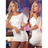 Белое клубное платье с молниями