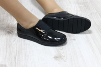 Туфли на резинке, черный лак