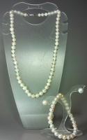 Гарнитур: ожерелье, браслет и серьги из натурального белого жемчуга «Анна»|escape:'html'