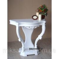 Белый пристенный столик (консоль) с элементами ручной резьбы