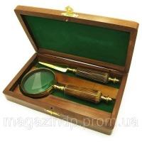 Лупа с костяной ручкой и ножом для конвертов в деревянном футляре (25х14х4,5 см) Код:18132