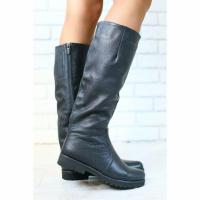 Женские демисезонные сапоги, кожаные, на байке, черные, низкий ход
