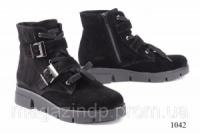 Женские ботинки короткие замшевые черные 1042 Код:591518286 escape:'html'