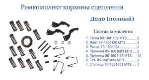 Ремкомплект корзины сцепления МТЗ, Д-240 (полный).