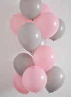 Гелиевые шары 25 см ( розовые и серые)