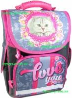 Рюкзак каркасный ортопедический школьный для девочки, с котом, начальная школа, 1-3 класс