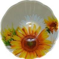 Миска стеклянная 178 мм круглаяая глубокая Желтый подсолнух «Батлер»