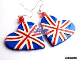 Серёжки с британским флагом