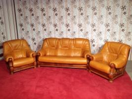 Кожаный диван с креслами на дубовом каркасе производства Германии