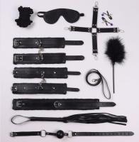 Садо Мазо игры Кожаный набор 10 шт. взрослые игры связывания, наручники, маска, плетка,кляп, ошейник, поводок бдсм