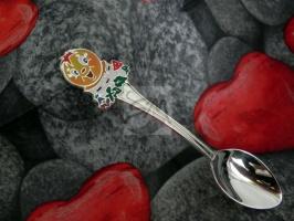 Детская сувенирная ложка Колобок. Серебро + эмаль.