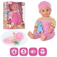 Кукла пупс интерактивная M 2054: 2 вида, 44 см, 6 сенсорных зон, 5 функций, коробка 41х27,5х16 см