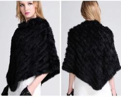 Меховой платок из кролика черный. Накидка, пончо, шаль.