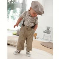 Детский костюм для мальчика, штаны, брюки с подтяжками и футболка