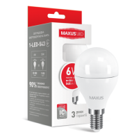 LED лампа MAXUS G45 6W мягкий свет 220V E14 (1-LED-543)