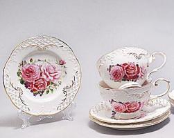 Чайный сервиз «Букет роз» 6 чашек по 220мл и 6 блюдец
