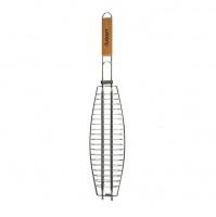 Решетка для рыбы Скаут с деревянной ручкой Серебристый с коричневым (sn_KM-0708)