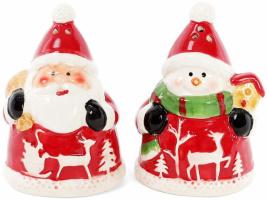 Набор для специй «Санта и Снеговик» солонка и перечница 6х6.5х9см