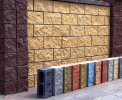 Блок заборный декоративный колотый, для забора, шлакоблок бетонный.