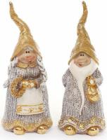 Набор 2 декоративных фигурки «Гномы в золотом» 18см