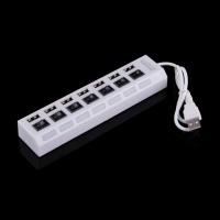 Белый 7 Порта USB 2.0 High Speed