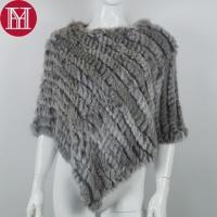 Меховой платок из кролика серый, накидка, пончо, шаль.