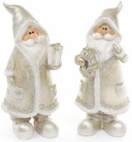 Фигурка декоративная «Санта Клаус в серебряном с подарком» 18см