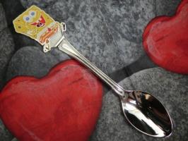 Детская сувенирная ложка Губка Боб (Спанч Боб. SpongeBob). Серебро + эмаль.