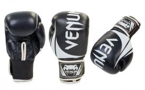 Перчатки боксерские кожаные VENUM черные 10,12 oz 12 OZ