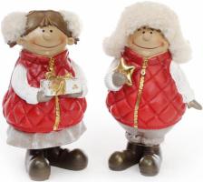 Набор 2 декоративных фигурки «Детки с подарками» 20см