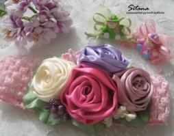 повязка для малышки с розами