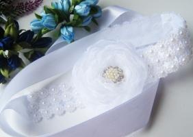 повязка для волос и на гульку с бусинами и большим цветком