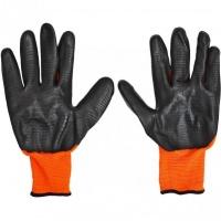 Перчатки рабочие, стрейч, оранжевые с черным обливом