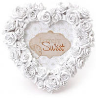 Фоторамка Sweet White «Белые Розы» форма сердца 16х16см